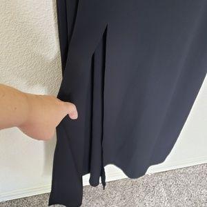 Leith Dresses - Leith Black Front Slit Crepe Maxi Dress